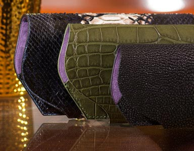 Glasses case Crocodile Python Shagreen